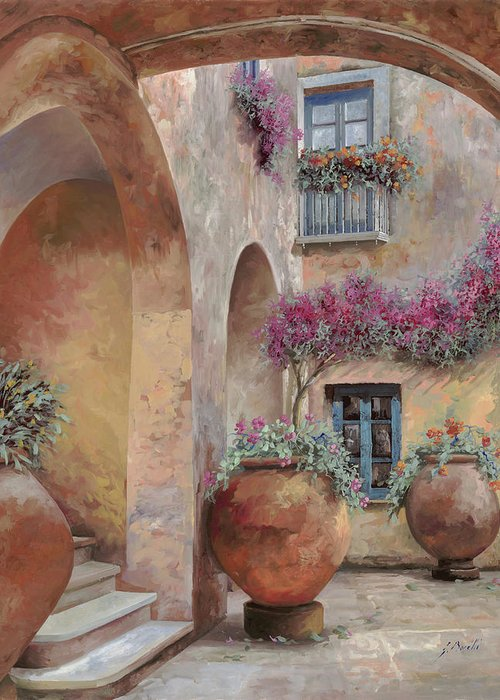 Arcade Greeting Card featuring the painting Le Arcate In Cortile by Guido Borelli