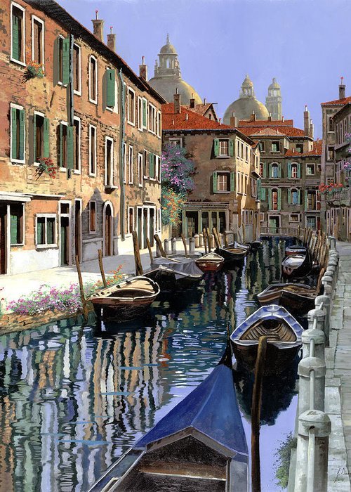 Venice Greeting Card featuring the painting Le Barche Sul Canale by Guido Borelli