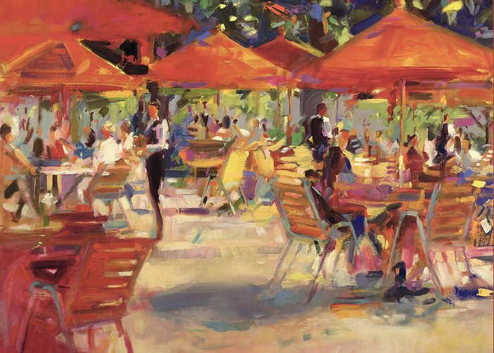 En Plein Air; Al Fresco; Garden; Table And Chairs; Umbrella; Restaurant; Summer; Mediterranean; Outdoors Greeting Card featuring the painting Le Cafe Du Jardin by Peter Graham