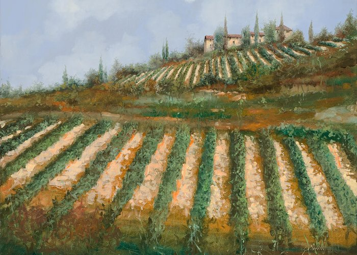 Vineyard Greeting Card featuring the painting Le Case Nella Vigna by Guido Borelli