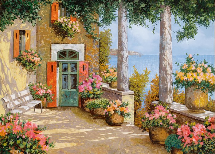 Terrace Greeting Card featuring the painting Le Colonne Sulla Terrazza by Guido Borelli