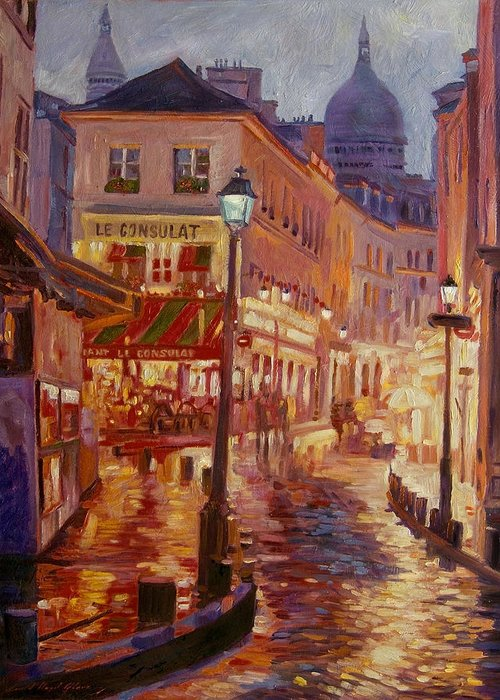 Impressionsim Greeting Card featuring the painting Le Consulate Montmartre by David Lloyd Glover