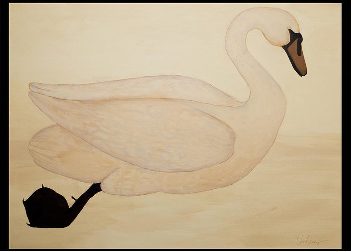 Le Cynge Greeting Card featuring the painting Le Cygne by Carrie Jackson