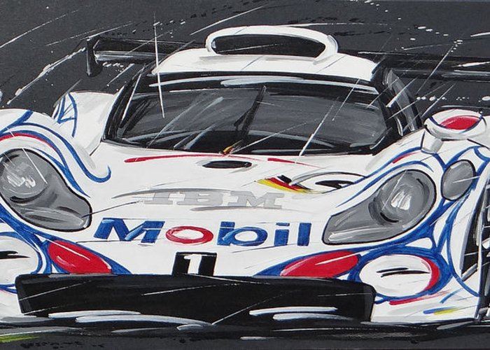 Cars Greeting Card featuring the painting Le Mans Porsche 911 Gt 1995 by Roberto Muccilo