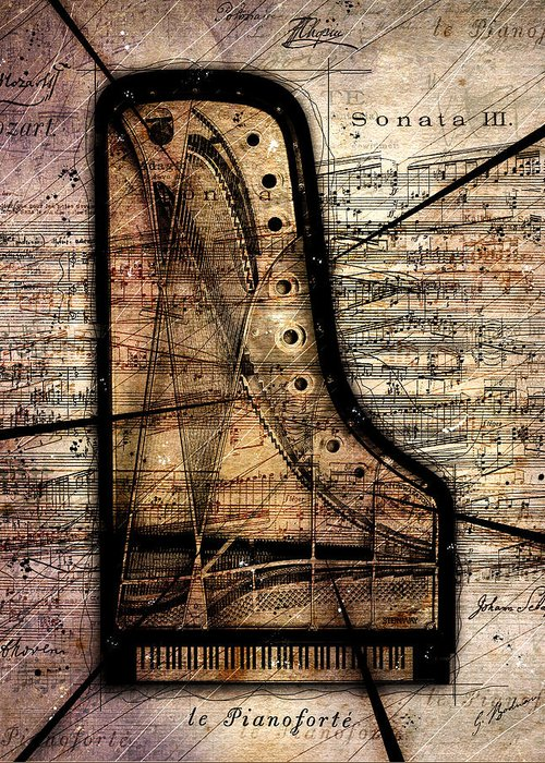 Piano Greeting Card featuring the digital art Le Pianoforte Variation II by Gary Bodnar