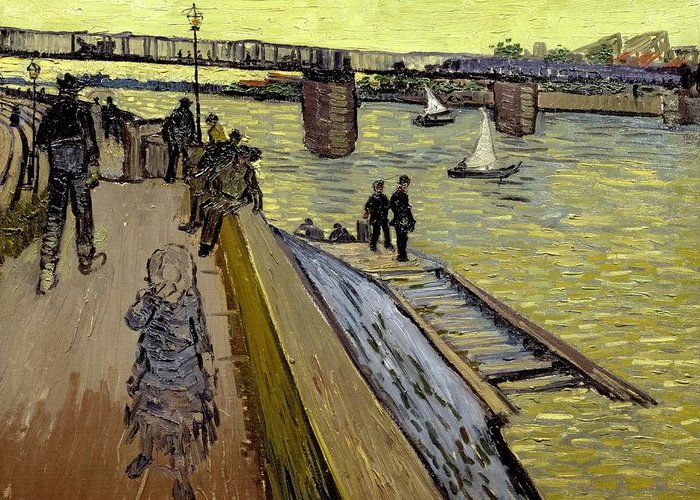 Pont Greeting Card featuring the painting Le Pont De Trinquetaille In Arles by Vincent Van Gogh