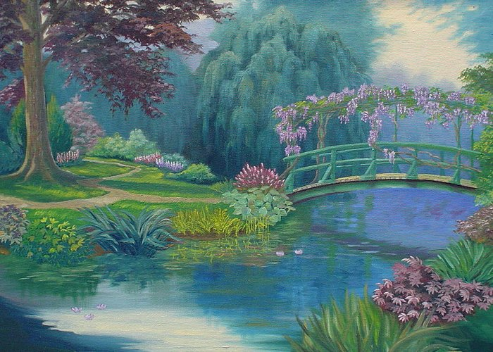Landscape Greeting Card featuring the painting Le Pont Japonais by Tan Nguyen