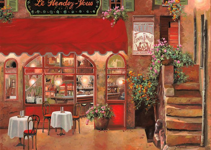 Caffe Greeting Card featuring the painting Le Rendez Vous by Guido Borelli