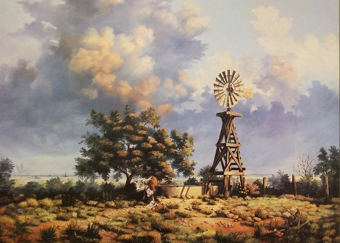 A New Mexico Landscape. Greeting Card featuring the painting Lea County Memories by Wanda Dansereau