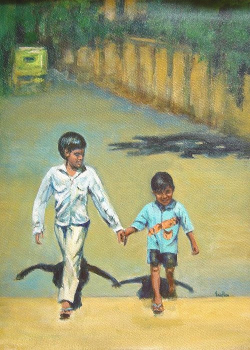 Lead Greeting Card featuring the painting Lead Kindly Brother by Usha Shantharam