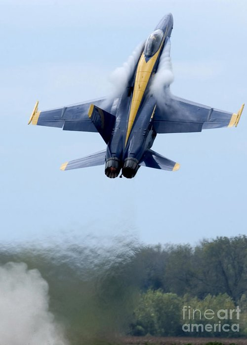 Vertical Greeting Card featuring the photograph Lead Solo Pilot Of The Blue Angels by Stocktrek Images