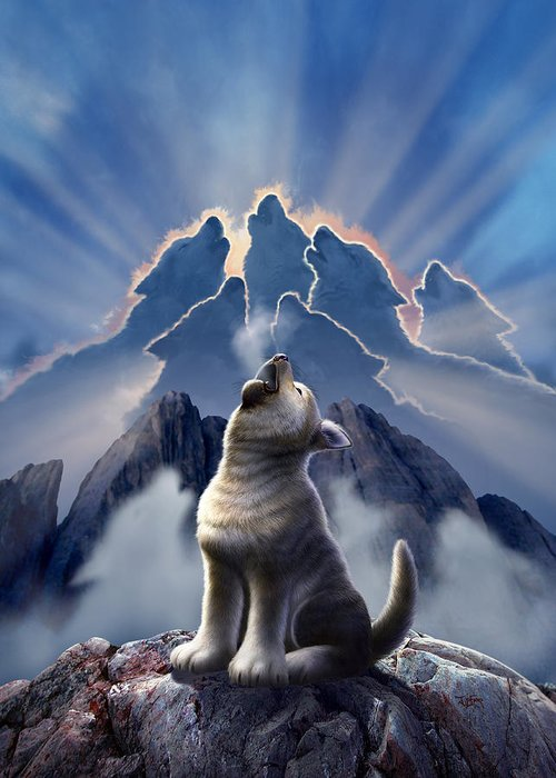 Wolf Greeting Card featuring the digital art Leader Of The Pack by Jerry LoFaro