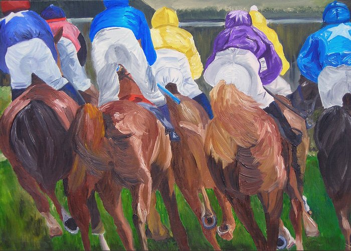 Horse Racing Greeting Card featuring the painting Leading The Pack by Michael Lee