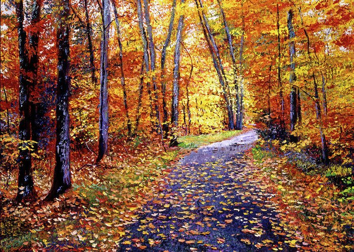 Trees Greeting Card featuring the painting Leaf Covered Road by David Lloyd Glover