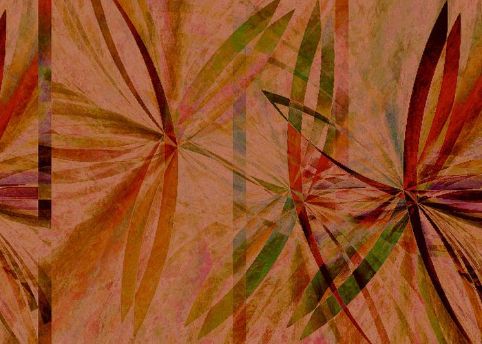Abstract Greeting Card featuring the digital art Leaf Dance by Ruth Palmer