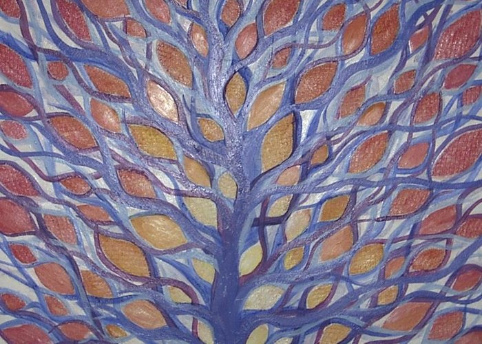Tree Abstract Landscape Greeting Card featuring the painting Leaf Tree by Sally Van Driest