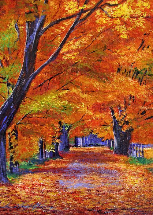 Landscape Greeting Card featuring the painting Leafy Lane by David Lloyd Glover