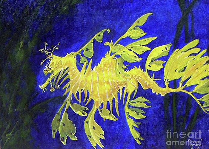 Ocean Animals Greeting Card featuring the painting Leafy Sea Dragon 1 by Lucien Van Oosten