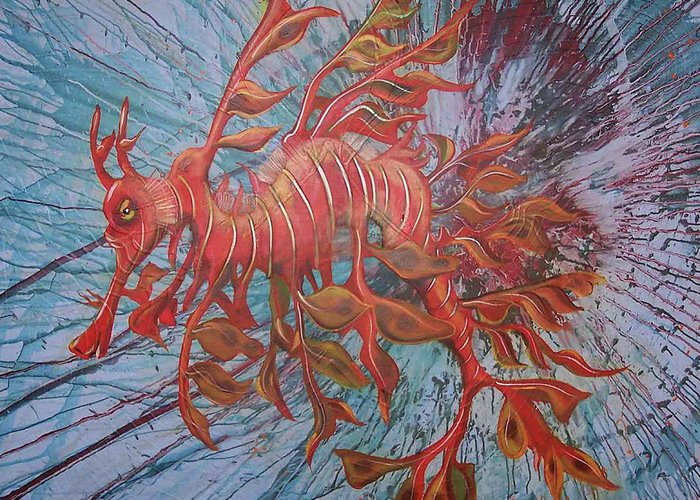 Leafy Sea Dragon Greeting Card featuring the painting Leafy Sea Dragon by Lawry Love