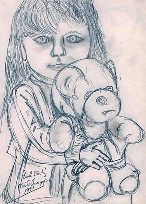 Pencil Greeting Card featuring the drawing Leah Stortz by Neil Trapp