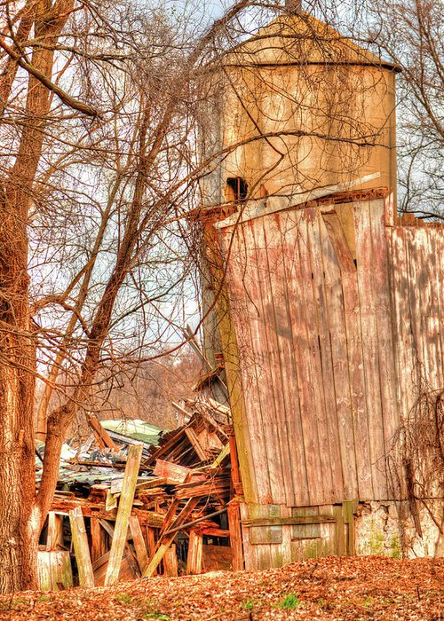 Illinois Greeting Card featuring the photograph Leaning Silo by Deborah Smolinske