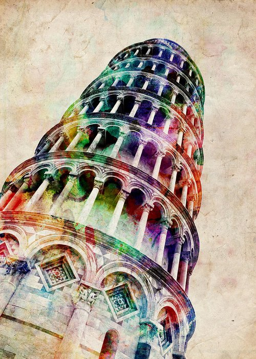 Leaning Tower Of Pisa Greeting Card featuring the digital art Leaning Tower Of Pisa by Michael Tompsett