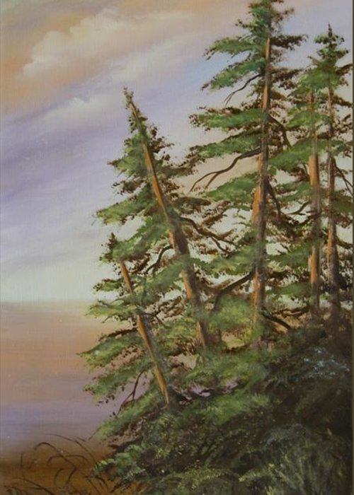 Landscape Greeting Card featuring the painting Leaning Trees by Joni McPherson
