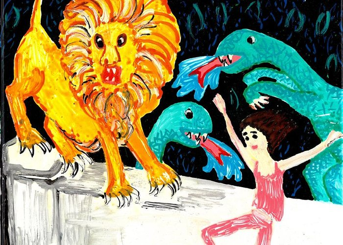Sue Burgess Greeting Card featuring the painting Leap Away From The Lion by Sushila Burgess