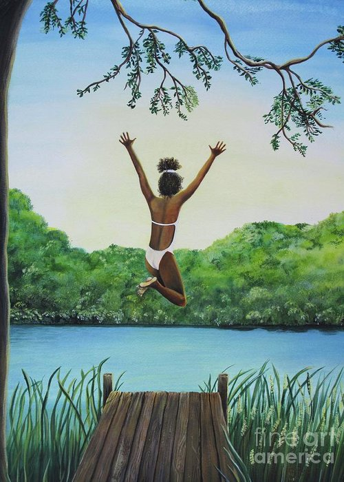 Summer Vacation Greeting Card featuring the painting Leap Of Faith by Kris Crollard
