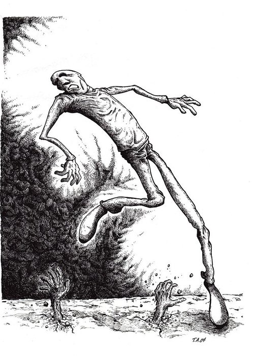 Black And White Greeting Card featuring the drawing Leap by Tobey Anderson