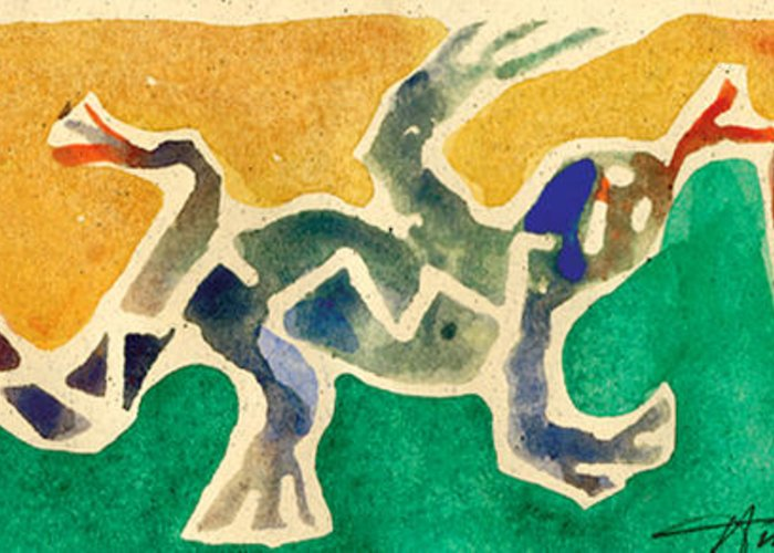Lizards Greeting Card featuring the painting Leaping Lizards by Annie Alexander