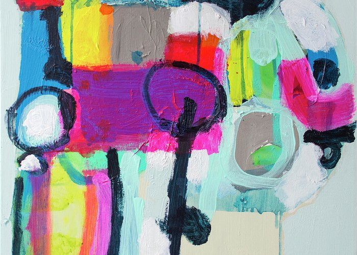 Abstract Greeting Card featuring the painting Learner's Permit by Claire Desjardins