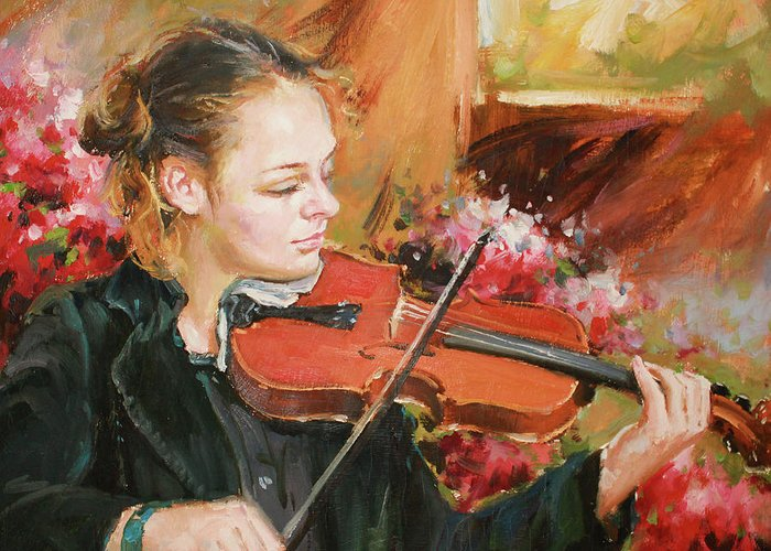Violin Greeting Card featuring the painting Learning The Violin by Conor McGuire