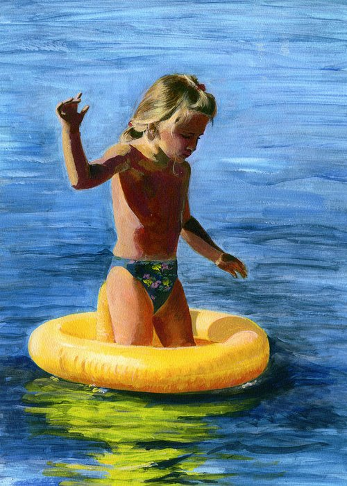 Swim Greeting Card featuring the painting Learning To Swim by Fiona Jack
