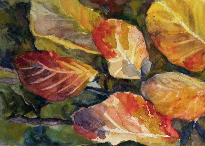 Autumn Greeting Card featuring the painting Leaves On A Pond by Elissa Poma