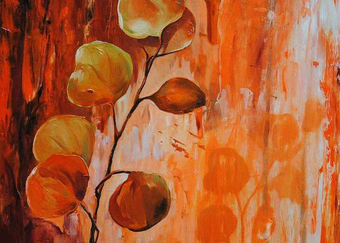 Leaves Greeting Card featuring the painting Leaves1 by Chris Steinken