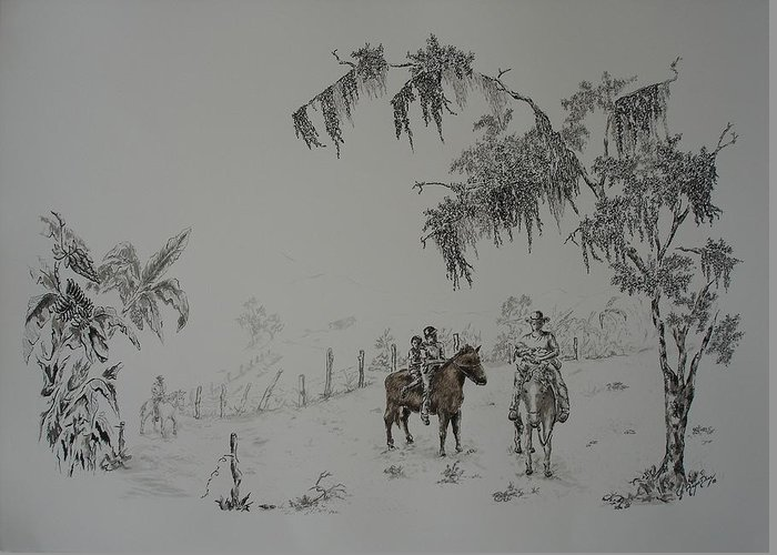 Landscape Greeting Card featuring the drawing Leaving Home by Gloria Reyes Diaz