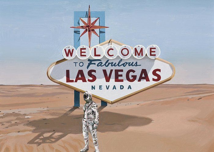 Astronaut Greeting Card featuring the painting Leaving Las Vegas by Scott Listfield