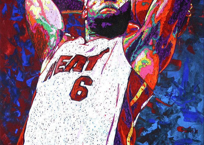 Lebron Greeting Card featuring the painting Lebron Dunk by Maria Arango