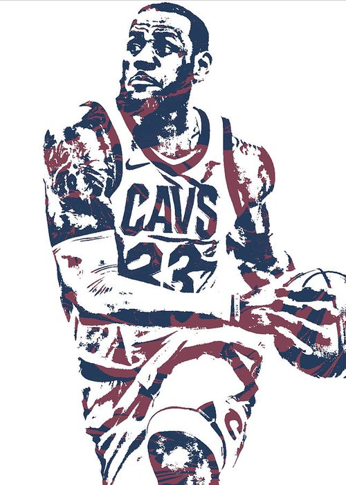 37f18afc2ebe Lebron James Cleveland Cavaliers Pixel Art 50 Greeting Card for Sale ...