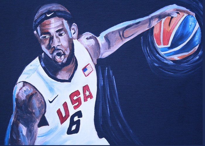 Basketball Paintings Greeting Card featuring the painting Lebron James Portrait by Mikayla Ziegler