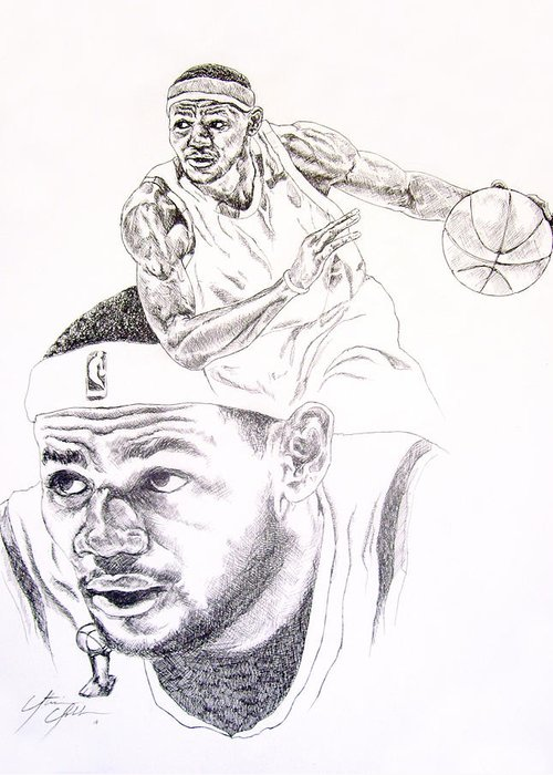 Lebron James Greeting Card featuring the drawing Lebron by Otis Cobb