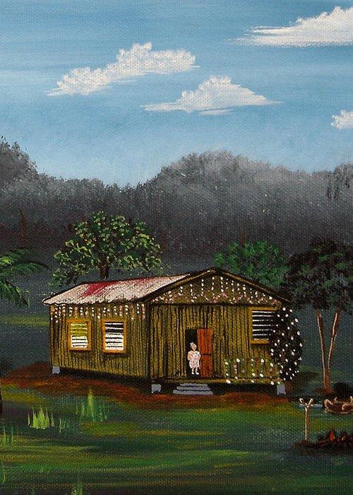 Lecheon A La Bara Greeting Card featuring the painting Lecheon A La Bara by Gloria E Barreto-Rodriguez