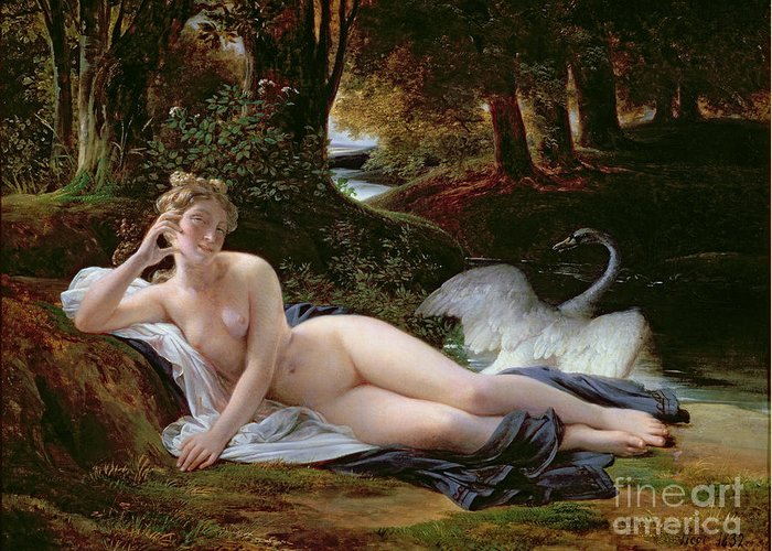 Leda Greeting Card featuring the painting Leda And The Swan by Francois Edouard Picot