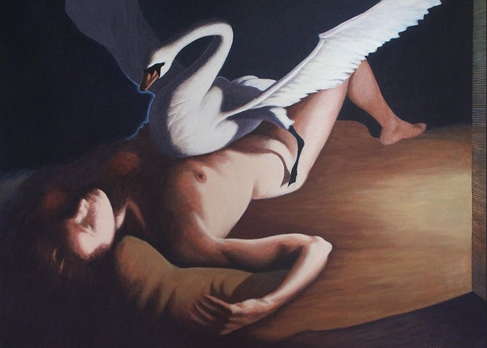 Swan Greeting Card featuring the painting Leda And The Swan by James LeGros
