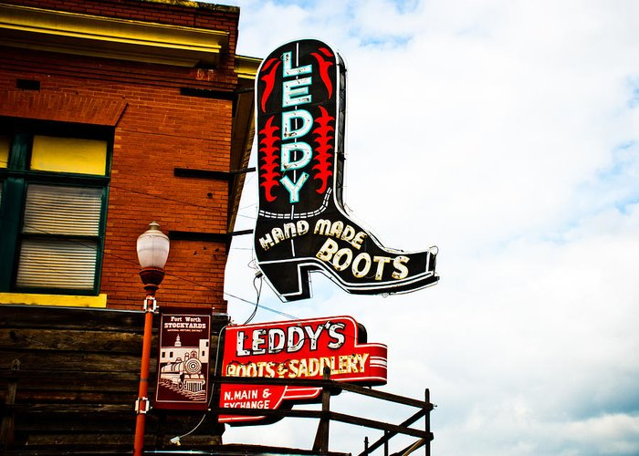 Neon Sign Greeting Card featuring the photograph Leddy's Boots by David Waldo