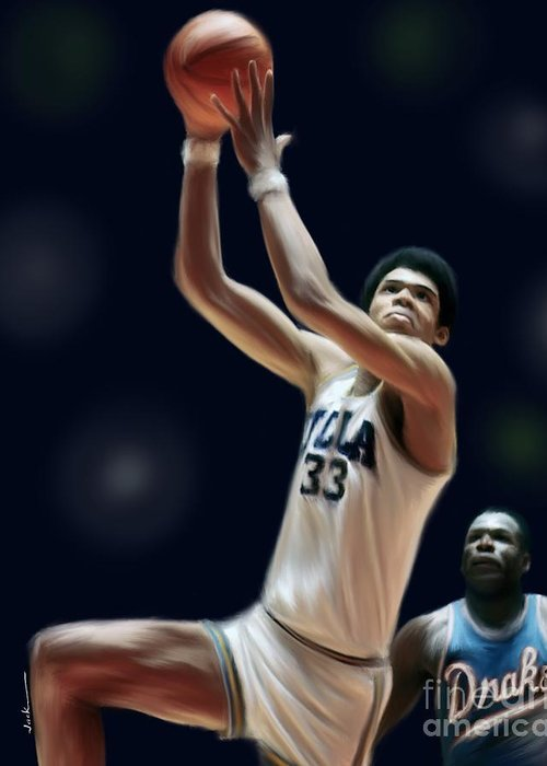 Kareem Greeting Card featuring the painting Lew Alcindor 1969 by Jack Bunds