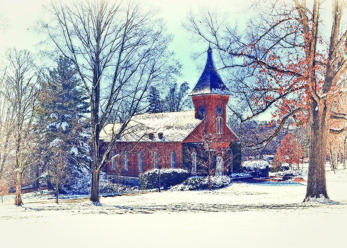 Lee Chapel In Snow Greeting Cards