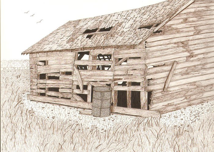 Pen And Ink Greeting Card featuring the drawing Lee's Barn by Pat Price