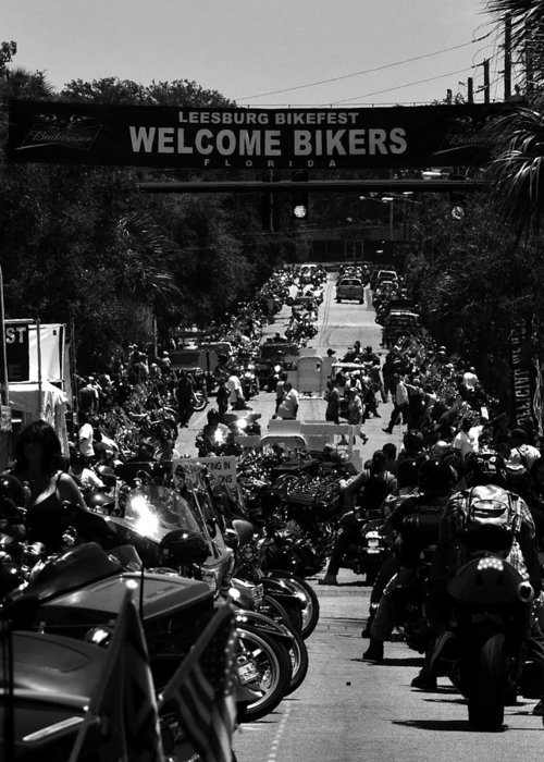 Fine Art Photography Greeting Card featuring the photograph Leesburg Florida 2012 Bikefest Work C by David Lee Thompson